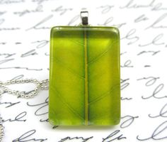 Green leaf photo necklace, $10 on Etsy