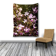 Purple Flower Wall Tapestry, Wall Hanging,Field of Flowers Photography Horizontal Wall Decor, Beach Blanket, Flower Outdoor Garden Flag by InLightImagery on Etsy