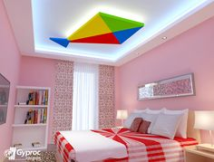 Get in the festive mood with Gyproc falseceilings! House Ceiling Design, Bedroom False Ceiling Design, Bedroom Ceiling, Roof Design, Ceiling Decor, Ceiling Ideas, Bedroom Pop Design, Kids Room Design, Creative Kids Rooms