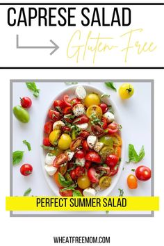 This salad is super simple to make and is ready in less than 10 minutes. I love to use farmer market baby tomatoes and a bunch of fresh basil. Add this to a couple glass jars and it is a great picnic salad. Perfect at your next bbq. Baby Tomatoes, Small Tomatoes, Bbq Salads, Summer Salads, Fresh Basil, Fresh Herbs, Salad Recipes Gluten Free, Varieties Of Tomatoes, Free Summer