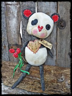 "Primitive 19"" Panda Bear with Roses, Valentine Gift, Teddy Bear, Primitive Valentine Decor, Black White Bear, Folk Art Doll, OFG FAAP"