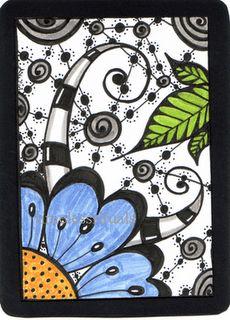 Doodle Flower ATC. doodle flower ATC illustration timeless rituals.b...