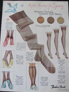 Vintage Retro Fashion Frocks exquisite nylon stockings