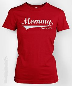 MOMMY Since (ANY YEAR) vintage - custom gift idea for new mom Mother's day newborn baby shower family personalized tshirt t-shirt tee shirt on Etsy, $14.95