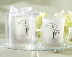 """Calla Lily"" Frosted-Glass Tealight Holder (Set of 4) - Wholesale Favors"