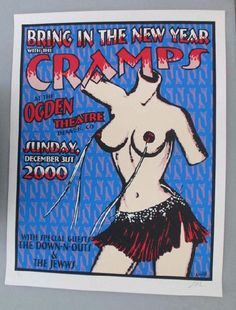 Original silkscreen concert poster for The Cramps at The Ogden Theatre in Denver, CO in 2000. 20 x 26 inches. Signed and numbered out of 169 by the artist Lindsey Kuhn.