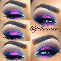 Purple Panic - Dramatic Purple, Pink and Blue Smokey Eyes Pink Eye Makeup, Makeup For Brown Eyes, Eyebrow Makeup, Eyeliner, Eyebrows, Purple Smokey Eye, Purple Eyeshadow, Makeup Tips, Beauty Makeup