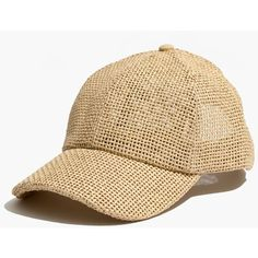 MADEWELL Straw Baseball Cap (1.820 RUB) ❤ liked on Polyvore featuring accessories, hats, natural, straw baseball cap, adjustable hats, ball cap hats, straw hat and strap hats