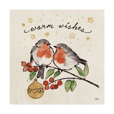 Trademark Global Janelle Penner Christmas Lovebirds Ii Canvas Art - 27 x 33 Painted Christmas Cards, Watercolor Christmas Cards, Watercolor Cards, Watercolor Paintings, Christmas Crafts, Watercolors, Christmas Pics, Whimsical Christmas Art, Easy Christmas Drawings