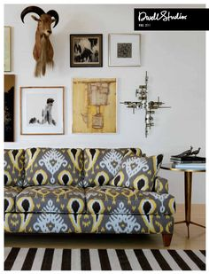 dwell studio sofa, why do I love this fabric, cluster art wall