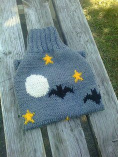 Sweater for Dog Night Full Moon Bats Stars Midnight