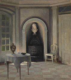 """Peter Vilhelm Ilsted (1861–1933) leading Danish artist and printmaker. Ilsted, Carl Holsoe and Ilsted's brother-in-law, Vilhelm Hammershøi, were the leading artists in early 20th century Denmark. All three artists were members of 'The Free Exhibition', a progressive art society created around 1890. They are famous for painting images of """"Sunshine and Silent Rooms"""", all in subtle colors. Their works reflects the orderliness of a tranquil life. Oil on canvas Private collection."""