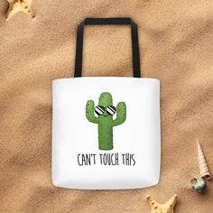 Can't Touch This  Tote Bag  Funny Cactus Succulent by ALittleLeafy