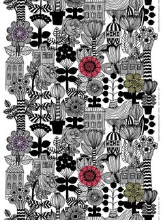 BUY – Marimekko –Lintukoto cotton fabric – design Maija Louekari – Maija Louekari's Lintukoto printon heavyweight cotton fabric overflows with wild flora and charming structures. Textile Patterns, Textile Design, Fabric Design, Print Patterns, Curtain Patterns, Floral Patterns, Surface Pattern Design, Pattern Art, Wal Art