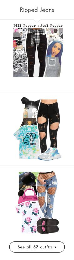 """""""Ripped Jeans"""" by uniquee-beauty ❤ liked on Polyvore featuring Victoria's Secret, Belk & Co., Louis Vuitton, NIKE, Retrò, Forever New, MICHAEL Michael Kors, Rails, Belk Silverworks and Beats by Dr. Dre"""