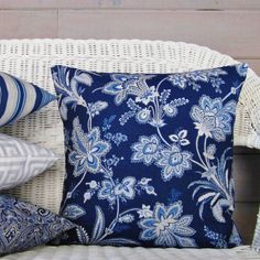 Navy Blue Floral Pillow Cover Botanical by TheDecorativePillow Navy Blue Throw Pillows, Blue And White Pillows, Floral Pillows, Handmade Pillow Covers, Throw Pillow Covers, Blue Couches, White Home Decor, Pillow Forms, Decorative Throws