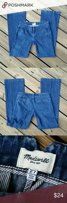 """Madewell Jeans Designer brand Madewell, trouser style, wide leg jeans with a stitched seam detail down the front pant legs. 32"""" inch inseam. Madewell Jeans Flare & Wide Leg"""
