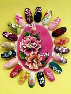 Nail art 3d Nails, Cute Nails, Pretty Nails, Nail Manicure, Crazy Nail Art, Cool Nail Art, Acryl Nails, Floral Nail Art, Flower Nails