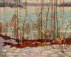 Frozen Lake, Early Spring Algonquin Park by Alexander Young Jackson, Group of Seven Canadian painter Tom Thomson, Emily Carr, Group Of Seven Artists, Group Of Seven Paintings, Canadian Painters, Canadian Artists, Jackson, Landscape Art, Landscape Paintings
