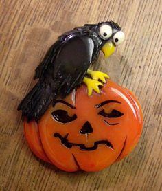 Carved Bakelite Halloween Pin Scared Raven Black Bird on Jack O Lantern Pumpkin #ElvenkrafteStudio