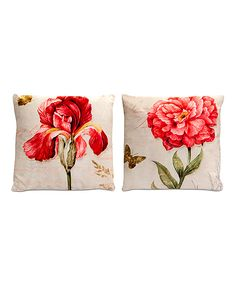 Velour Floral Pillows - Set of Two