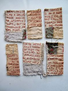 Emma Parker Embroidery and Textile Art. Textile Fiber Art, Textile Artists, Embroidery Art, Embroidery Stitches, Portrait Embroidery, Impression Textile, Buch Design, Fabric Journals, Boro