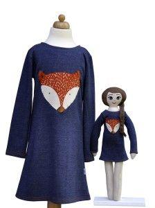 Lalka Lalanna haftowana i  jeansowa sukienka z aplikacją liska dla dziewczynki