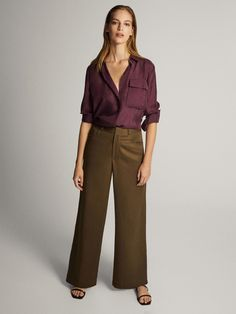 Massimo Dutti - Women - Silk Shirt With Pocket Detail - Bougainvillea - 34 Simple Wardrobe, Estilo Fashion, Fashion Project, Mode Inspiration, Pocket Detail, Minimal Fashion, Models, One Kings Lane, Shirt Blouses