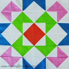 The Exploding X HST Block uses half square triangles to create a vibrant, energetic X block. If you don't already know how to chain piece quilt blocks, this tutorial gives a pretty thorough explanation of how the technique is done.