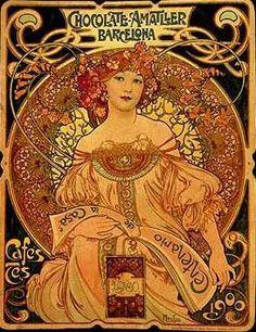 (Czech) Chocolate poster by Alphonse Mucha Art nouveau. Art Nouveau Mucha, Alphonse Mucha Art, Art Nouveau Poster, Pub Vintage, Poster Vintage, Vintage Art, Art Deco, Images Victoriennes, Illustration Art Nouveau
