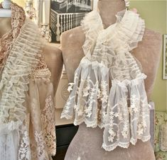The Polka Dot Closet: Making Shabby Scarves From Vintage Table Runners And Lace she is a genius love her creations!