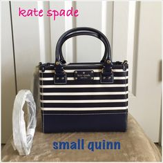 "Authentic Kate Spade Stripe Small Quinn Satchel Authentic Kate Spade Stripe Small Quinn Satchel Bag. Style WKRU2898. Color- French Navy/Cream. New with tag. Its an open top bag with zipper compartments at the middle. Dimensions- 10"" L x 8"" H x 4"" W with a handle drop height of 5"" and a removable & adjustable  long strap for crossbody wear. Made of lacquered twill with matching leather trim and a signature fabric inside lining that has ksny print in it. The hardware is light gold with…"
