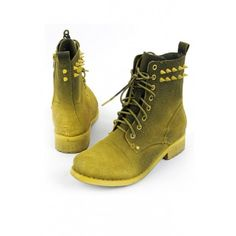 OASAP - Riveted Lace-up Boots - Street Fashion Store ($113) via Polyvore