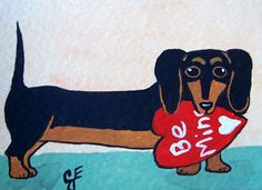 """Black and Tan Dachshund Valentine""  Original Painting Artist Trading Card"
