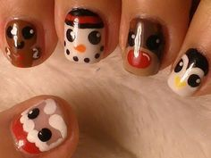 Christmas Nail Art -- Santa and Friends