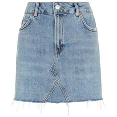 Women's Topshop Denim Miniskirt ($55) ❤ liked on Polyvore featuring skirts, mini skirts, blue skirts, high waist skirt, denim miniskirt, short denim skirts and high-waisted skirt