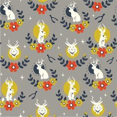 Arleen Hillyer for Birch Organic Fabrics, Tall Tales, Jackalope Shroom