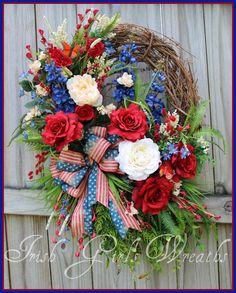 XL Rustic Patriotic Summer Rose Garden Wreath by IrishGirlsWreaths