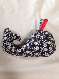 Soft toy whale in fun skull and crossbones by TinkerTailorDesign