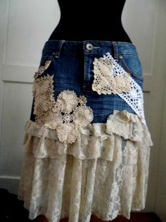 skirt,denim skirt, upcycled skirt, boho, gypsy, eco chic, lace skirt, shabby chic, women fashion, size 10, cowgirl, tatter punk, fairy chic