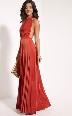Pin for Later: Take Your Party-Season Style to the Max in These Maxi Dresses PrettyLittleThing Lorelei Rust Halterneck Pleated Maxi Dress PrettyLittleThing Lorelei Rust Halterneck Pleated Maxi Dress (£35)