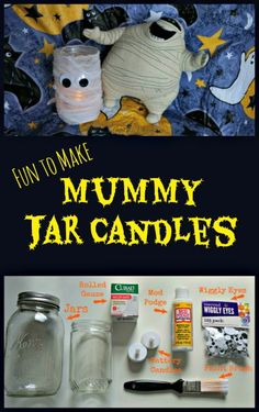 These fun-to-make Mummy Jar Candles are a perfect activity for a family Hotel Transylvania 2 Movie Night! #HotelT2 #ad
