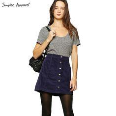 Simplee Apparel Retro corduroy high waist skirt A line button slim mini skirt Preppy single breasted Autumn women skirt 90's new - free shipping worldwide
