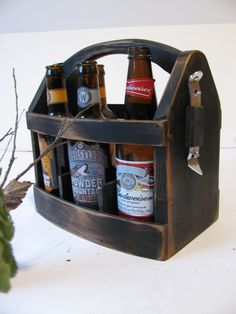 Handmade Beer bottle six pack carrier Wood beer box 6 pack carrier Beer boat.. $59.00, via Etsy.