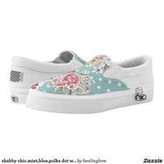 shabby chic.mint,blue,polka dot white,pink floral, printed shoes