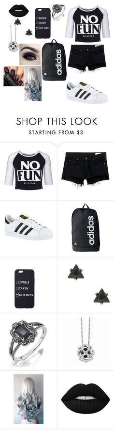 """""""Untitled #267"""" by shuneciacooper ❤ liked on Polyvore featuring Killstar, rag & bone/JEAN, adidas and Lime Crime"""