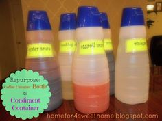 Home For 4 Sweet Home: Repurpose: Coffee Creamer Bottle to Condiment Container