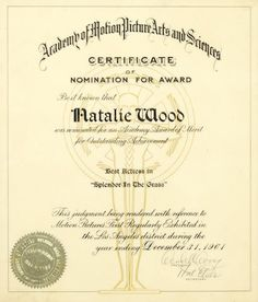 A Natalie Wood Academy Award® nomination plaque for Splendor in the Grass
