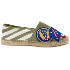 Military Green Espadrilles with Patches ($115) ❤ liked on Polyvore featuring shoes, sandals, multi color sandals, striped canvas shoes, olive shoes, olive green sandals and canvas sandals