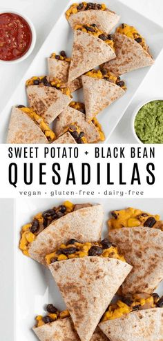 These sweet potato black bean quesadillas are vegan dairyfree and SO delicious Enjoy a crispy tortilla stuffed with cheesy sweet potato filling spicy black beans corn and onion. Serve with salsa guacamole and pico de gallo. Tasty Vegetarian Recipes, Vegan Dinner Recipes, Dairy Free Recipes, Mexican Food Recipes, Whole Food Recipes, Cooking Recipes, Vegan Recipes With Sweet Potatoes, Grilling Recipes, Snacks Recipes
